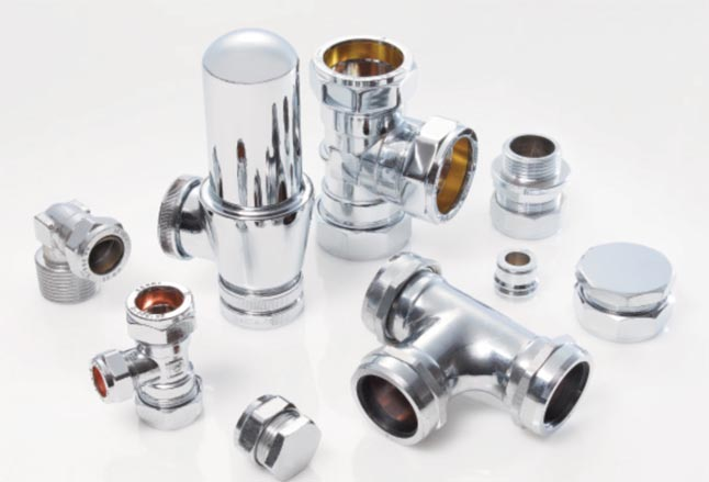 Chrome plated brass compression fittings (BS EN1254-2)